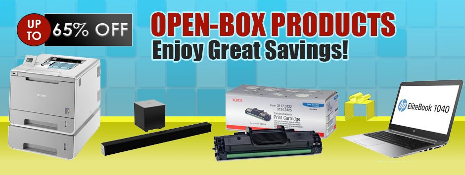 open-box laptops, electronics, monitor, printers, ink cartridges and more